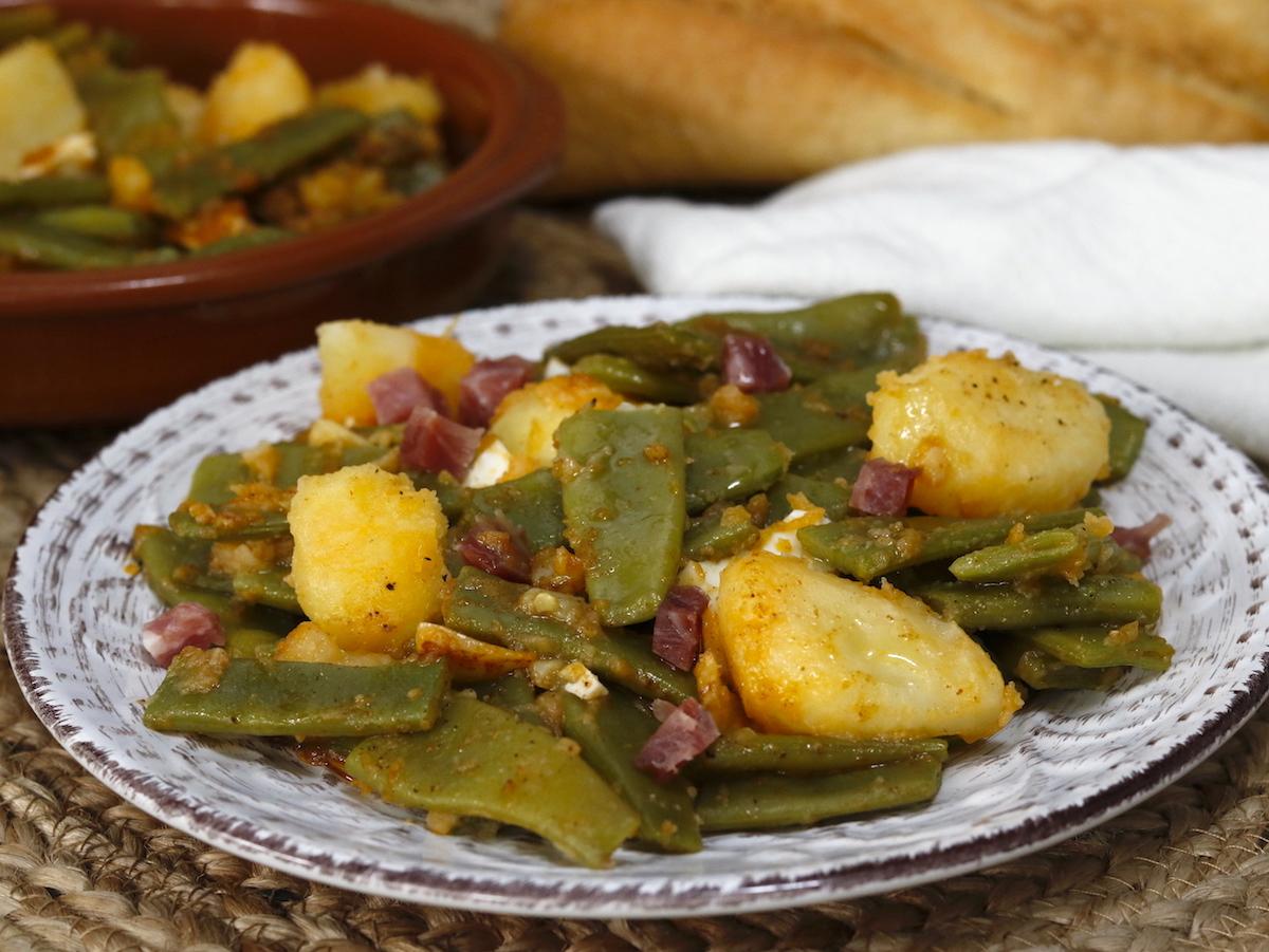 como hacer judias verdes con patatas y jamón