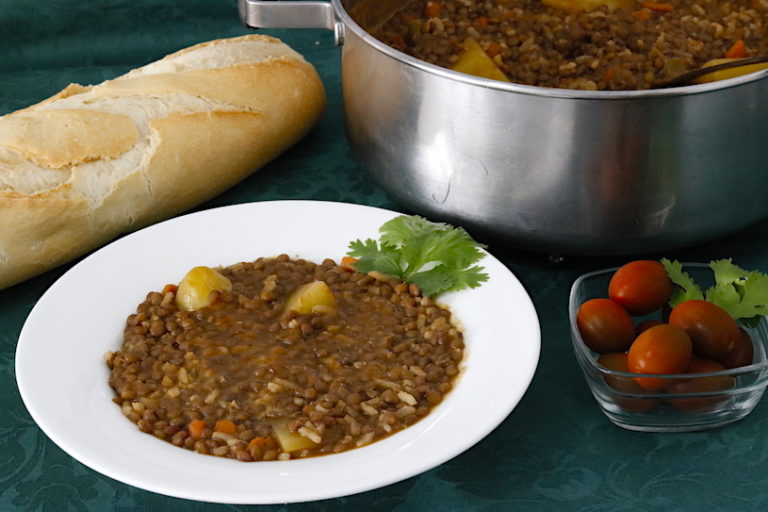 Lentejas con arroz receta f cil cocina a buenas horas for Cocinar lentejas con verduras