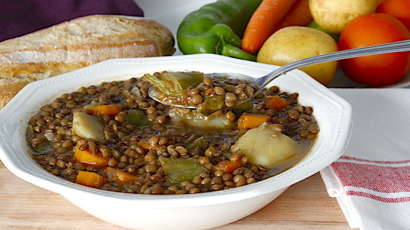 lentejas con verduras cuchara