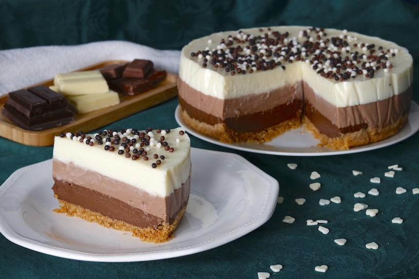 tarta de 3 chocolates trozo